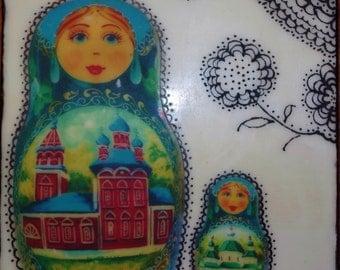 Encaustic Art, Russian Folkart Matryoshka Encaustic Photo Art Russian Dolls, Beautiful Art Gift, Russian Art, Whimsical Encaustic Art, Gift