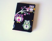 Owls Passport Holder  Cover  Travel document holder  Black Cotton with Funky Multi Owls  pink spot lining  BACK IN STOCK!