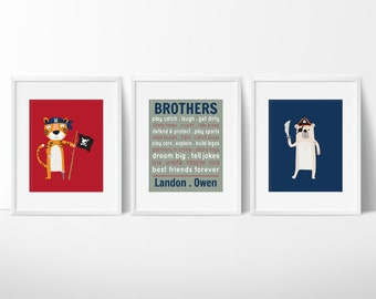 Big Brother Print - Brothers Art - Boy's Room Decor - Baby Boy Nursery Art - Brothers Prints - Pirate Brothers - Pirate Animals Wall Art