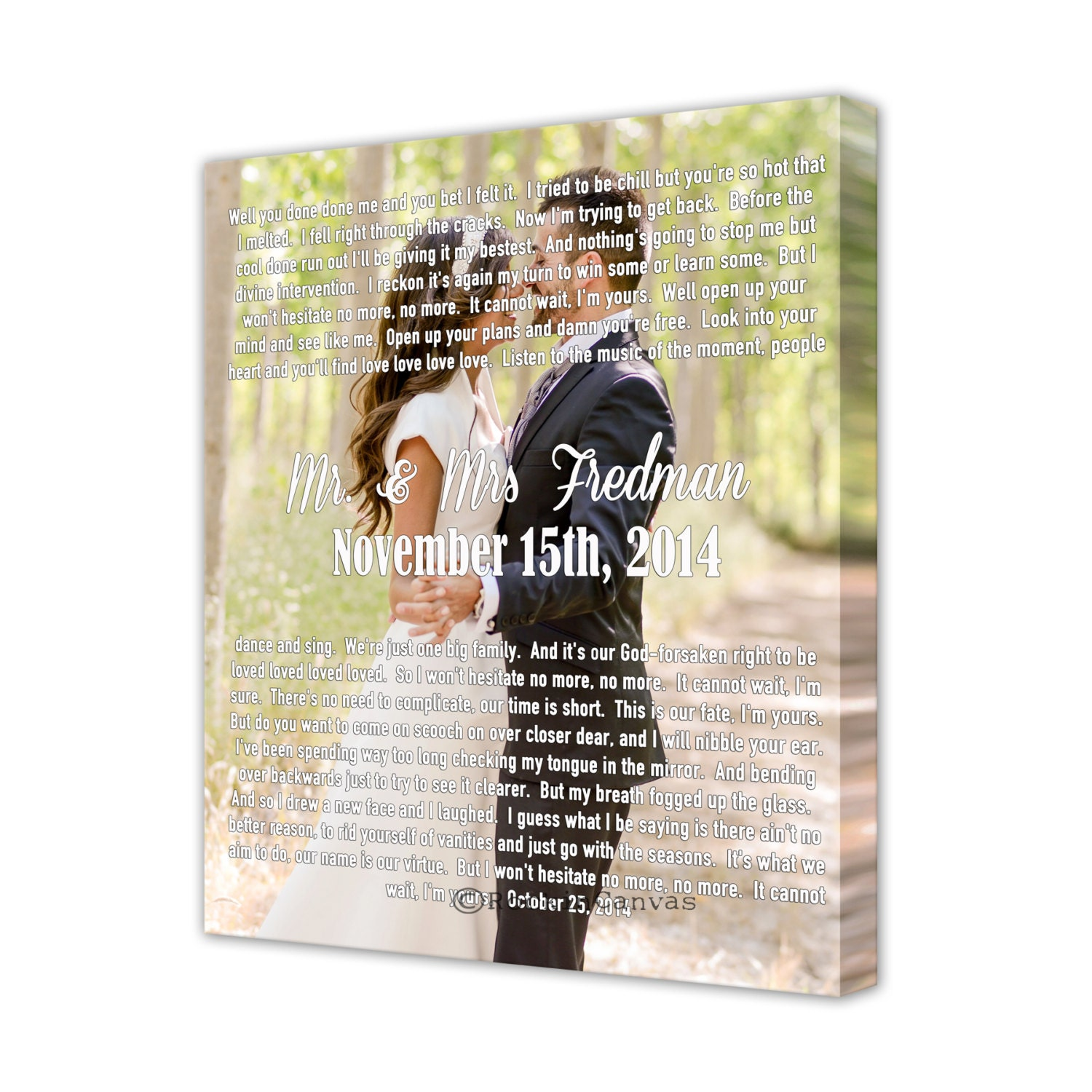 Wedding Gift Canvas Art : Personalized wedding canvas Cotton Anniversary Gift Canvas
