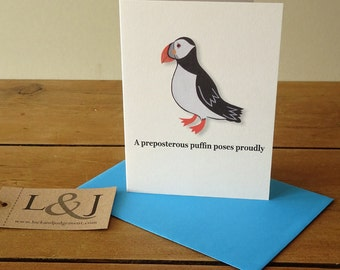 Puffin card - seabirds - art note card - puffins - seaside - note card set - funny greeting cards - thank you note card - puffin