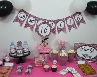 sweet 16 printables decoration sweet sixteen candy bar partt kit 16
