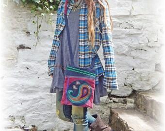 Paisley Bag, Cross Body Bag, Zip Pouch Bag, Recycled, Upcycled, Small Shoulder Bag, Hippie Bag, Bohemian Handbag, Hippy, Eco Friendly, OOAK
