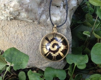 Orgonite pendant gold aventurine stones synergy Hunab Ku