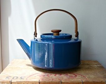 Micheal Lax for Copco Enameled Blue Kettle, Mid Century Modern Decor