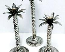 Candle Holders, Vintage, Hollywood Regency, Carved, Metal, Snakeskin Texture, Palm Trees - Set of 3