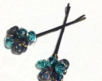 Blue beaded hair pins grunge accessories for women skull jewelry boho hair clips for teen girl gift unique bobby pin beaded hair accessories