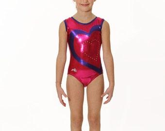 Gymnastics leotard in mystique fuchsia with purple hearth and Swarovski applique