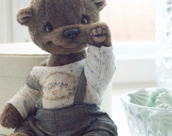 Artist teddy Bear toy Tommy -  artist teddy bear, OOAK, alpaka fabric toy,  collectible teddy bear