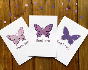 6 Handmade Butterfly Thank You Cards, Purple Butterfly Cards, Thank You Cards, Butterfly Party Card