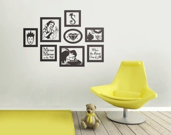 Snow White Vinyl Wall Decal Frames Kit with Customized Initial