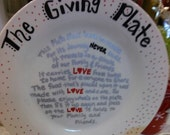 The Giving Plate with poem for holiday treats Hand Written