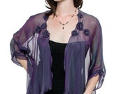 Purple-Teal Evening Silk Chiffon Swing Cardigan Jacket/ Sizes XS - 6X