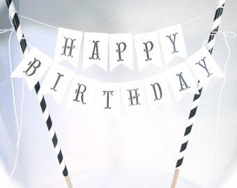 Happy Birthday Cake Topper - Happy Birthday Cake Banner - Custom Name Cake Topper - Custom Cake Flag Bunting - Hand Stamped