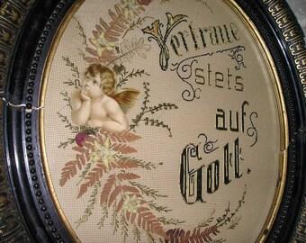 "Antique Religious German Angel Memorial/Mourning Plaque/Wall Art Old Beautiful Needlework"" Always Trust in God"" Original Victorian Art."
