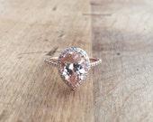 Morganite Diamond Halo Rose Gold Engagement 1.92 Carat Center