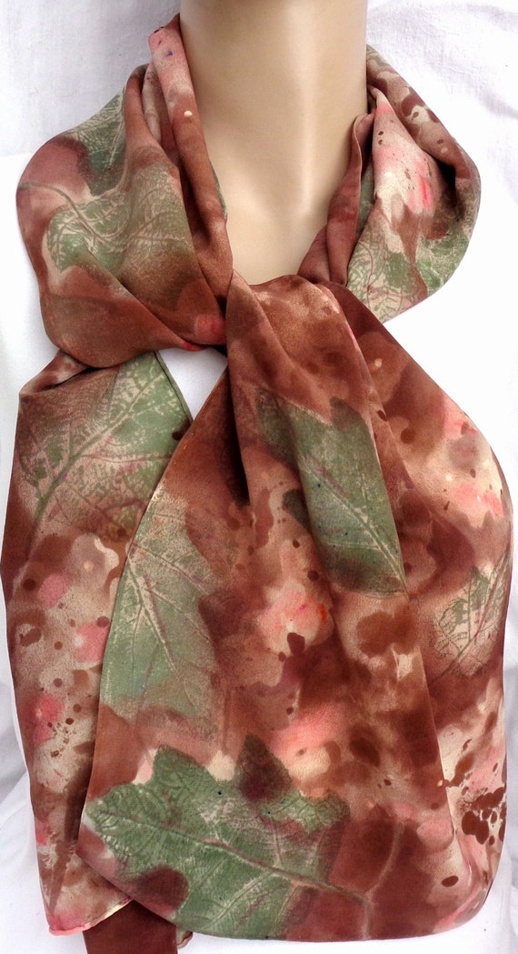 silk scarf hand painted Winter Hydrangea brown coral sage crepe large long luxury unique wearable art women fashion accessory