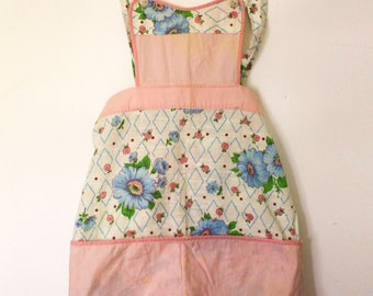 Child's Pink and Blue Sweetheart Apron - Handmade