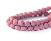 Saturated Lavender Faceted Round Spacers, Fire Polished Matte Opaque Czech Glass Beads, 6mm x 25pc (0018)