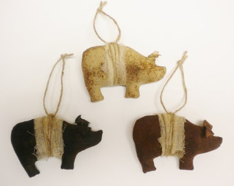 Primitive Pig Ornaments Set of 3 Solid Colors, Pig Ornaments, Pig Decorations
