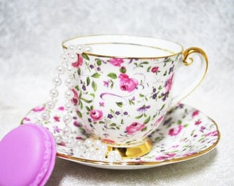 WINDSOR  Vintage Tea Cup and Saucer,  Made in England /  Floral Pattern / Tea Party