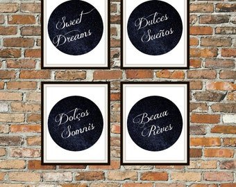 Sweet Dreams, Dulces Sueños, Dolcos Somnis, Beaux Reves Digital Wall Art Print Set,  nursery print, navy print, 8x10 print