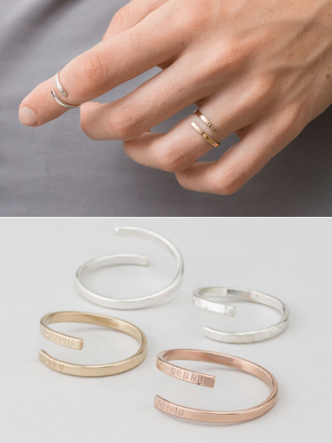 dainty personalized ring gold silver or rose gold ring. Black Bedroom Furniture Sets. Home Design Ideas