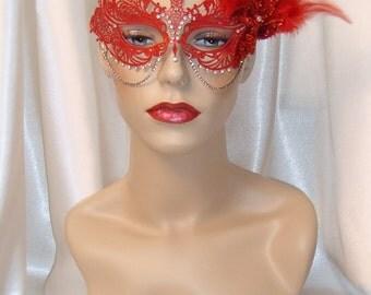 Red Laser Cut Metal Mask, Venetian Mask, Masquerade Ball Mask, Mardi Gras Mask