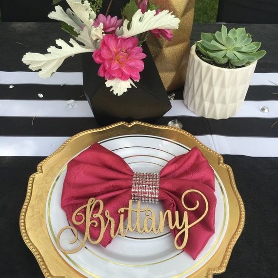 Guest Table Setting, Name Place Card, Laser Cut Names, Bridal Shower Decorations, Custom Wedding Decoration, Personalized Name
