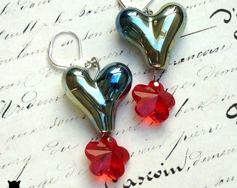 Glass Heart Bead Earrings, Hand-Made Glass Hearts, Swarovski Red Crystal Flower, Hearts and Flower Earrings