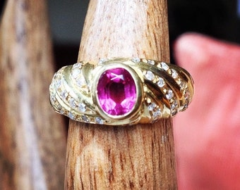 Vintage Pink Sapphire and Diamond Cocktail Ring