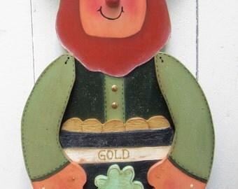 St. Patrick's Day Leprechaun Wood Decor Porch Sitter Greeter Large Yard Sign Art Painted Wood Shamrock Irish Pot o' Gold Outdoor St. Paddy's