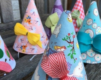 Fabric Party Hat Digital Pattern + Kit Mailed to You (Pink Floral Print)