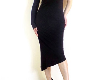 Black Dress - Asymmetric Midi Dress - Party Dress  - One Shoulder Dress - Unique Dress -  Dress from Black Jersey, No.0013