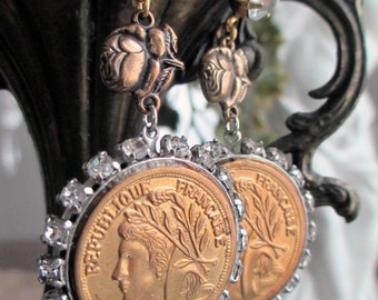 french coins - vintage paris earrings france souvenir charms rhinestone rose pierced dangles by the french circus