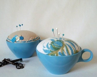 Blue Flower Pincushion Handmade in Vintage Teacup Make-Do Sewing Quilting