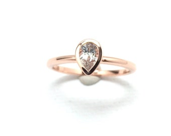 Pear Shape White Sapphire Engagement Ring Rose Gold
