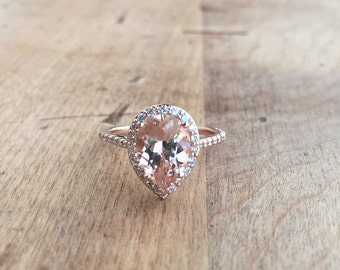 Morganite Diamond Halo Rose Gold Engagement 1.92 Carat Center