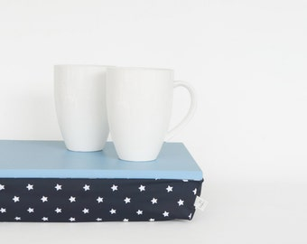 Breakfasts in bed serving tray with support pillow, lap desk - light blue tray,  navy with white stars print pillow