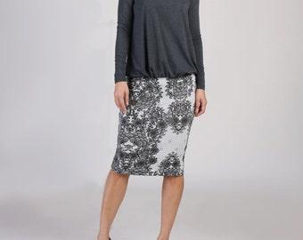 Sweater Knit Everyday Pencil Skirt, Winter Skirt, Sequin Skirt, Party Skirt, Pull On Skirt, Floral Skirt - Black Floral Sequin Print