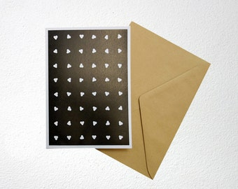 Valentine card, with white hearts on black background, folded, blank inside, A6, with envelope
