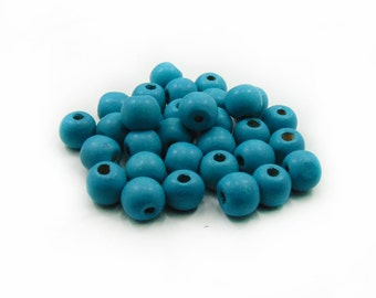 Turquoise Wood Beads, Wooden Beads, Turquoise Beads, 20pcs Wood Beads, Jewelry Making, DIY Craft Supplies