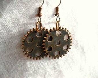 SteamPunk Earrings Antiqued Copper Earrings Surgical Steel Hooks Dangle Drop Simple Filigree Earrings Gear Earrings Clock Parts Large