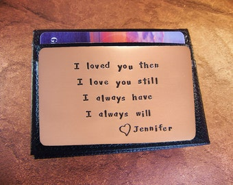 First Anniversary Gift, Rustic Copper, Cool Boyfriend Gift, Love Reminder Card, Copper Wallet Insert
