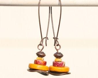Orange RED Earrings Sun Yellow Ceramic Earrings Dangle Drop Copper Earrings Boho Chic Earrings Jewelry Gift Ideas Fall Fashion Earrings