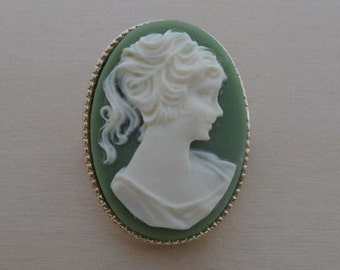Classic Green Vintage Cameo Brooch, Pin