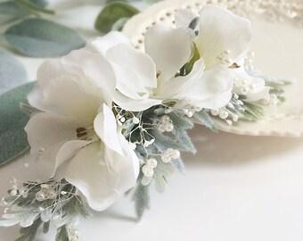 Pearl Bridal Flower Comb-  Floral Headpiece- Pearl Headpiece- Wedding Hair Comb-  Ivory Floral Comb- Bridal Pearl Comb- Bridal Headpiece