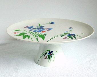 """Vintage  Floral """"Rhapsody"""" Pedestal Cake Stand Shafford Fine Porcelain"""