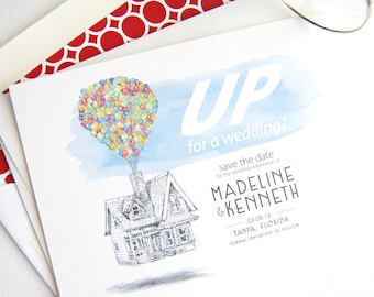 UP House Wedding Save the Dates, Save the Date, Save the Date Cards, Fairytale Wedding, Disney Theme Wedding, Bottlecap (set of 25 cards)