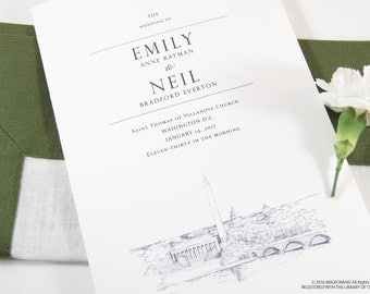 Washington D.C. Skyline Wedding Programs (set of 25 cards)